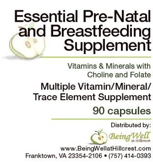 Essential Pre-natal and Breastfeeding Supplement Vitamins & Minerals with Choline and Folate Trace Element Supplement 90 Capsules