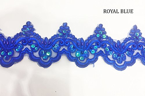Blue Colored Fabric - Beaded Lace Trim Sequinned Ribbon Vintage Decorative Wedding/Bridal DIY Craft Sewing Coloured Fabric (Royal Blue, 3 Yards)