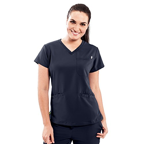 ave Women's Medical Scrub Top, Berkeley ave, V-Neck Scrub Shirt, 2 Pockets, Wrinkle Resistant, Great for Nurses, Navy, - Pocket 2 Scrub V-neck Top