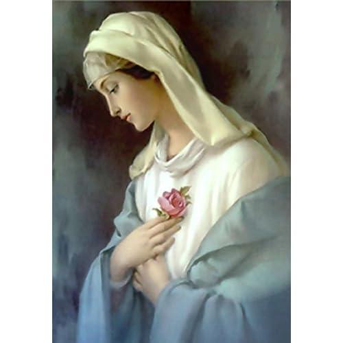 ESOOR 5D DIY Diamond Painting, Cross Stitch DIY Diamond Kits de peinture Arts Virgin Mary 12X16 pouces