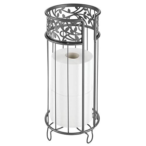- mDesign Decorative Free Standing Toilet Paper Holder Stand with Storage for 3 Rolls of Toilet Tissue - for Bathroom/Powder Room - Holds Mega Rolls - Durable Metal Wire - Graphite Gray