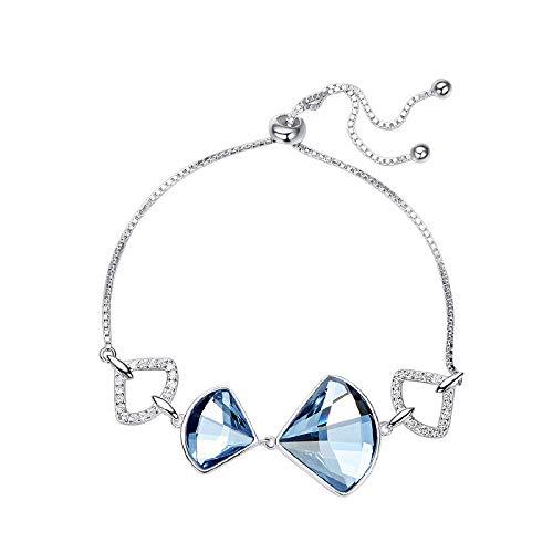 GMYANYSZ Crystals from Bracelets Women Jewelry Rhinestone 925 Sliver Blue Chic Ladies Sexy