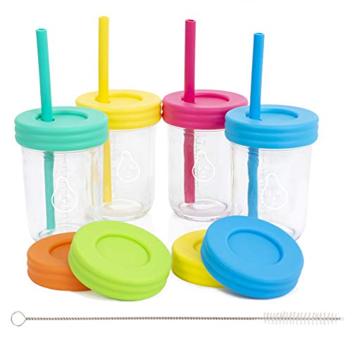 Kids 8oz Glass Mason Jar Drinking Cups with Straw Lids + Leak Proof Regular Lids + Silicone Straws + Cleaning Brush - No Rust, Less Spills for Toddlers & Kids + Food Storage (4 Pack) ()