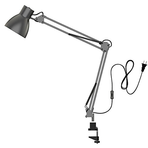 (ToJane Swing Arm Desk Lamp,Architect Table Clamp Mounted Light, Flexible Arm Drawing/Office/Studio Table Lamp,LED Bulb Included,Grey Metal)