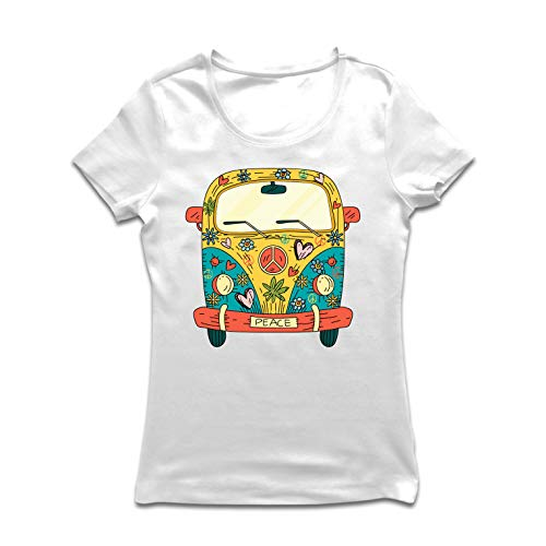 lepni.me Women's T-Shirt 60s 70s Hippie Van, Flowers Love Peace Freedom Symbol (X-Large White Multi Color)]()