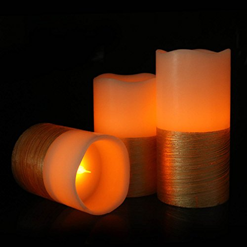 Flameless Pillar Candles Set of 3, AAA Battery Operated Led Flickering Candles Luminara Gold Decorative (Pillar Triple Led)