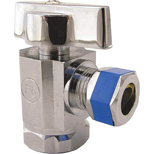 LASCO 06-9201 Angle Stop Quarter Turn Ball Valves, 1/2-Inch Steel Pipe Inlet X 3/8-Inch Compression Outlet, Chrome