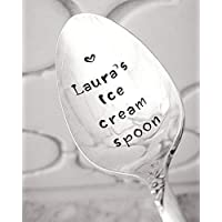 Personalized Ice Cream Spoon Hand Stamped Spoon Gift Under 20 Engraved Spoon Dessert Lover Custom Gift