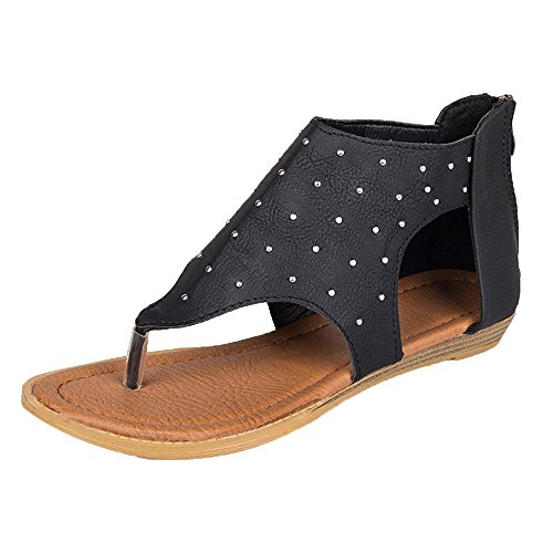 Womens Sandals Zipper Foot Rivet Sandals Flat Ankle Gladiator Casual Shoes by Limsea by Limsea Women Shoes