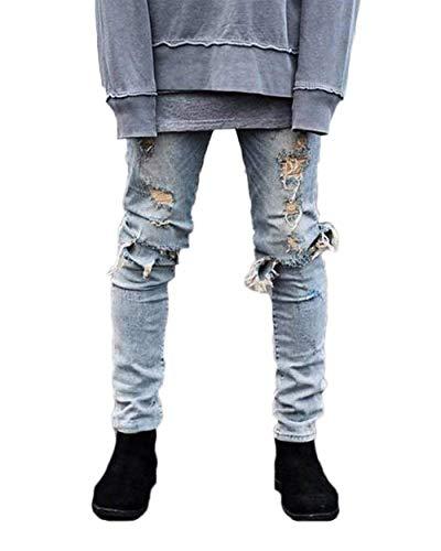 Da Jeans Especial Hellblau Nel Uomo Denim Strappato Skinny Pantaloni Aderenti Foro Distressed Estilo Vintage In Distrutti Ginocchio 5wHfqxznY