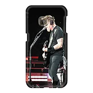 Shock Absorption Hard Phone Covers For Samsung Galaxy S6 With Custom High-definition Metallica Band Pattern MarieFrancePitre