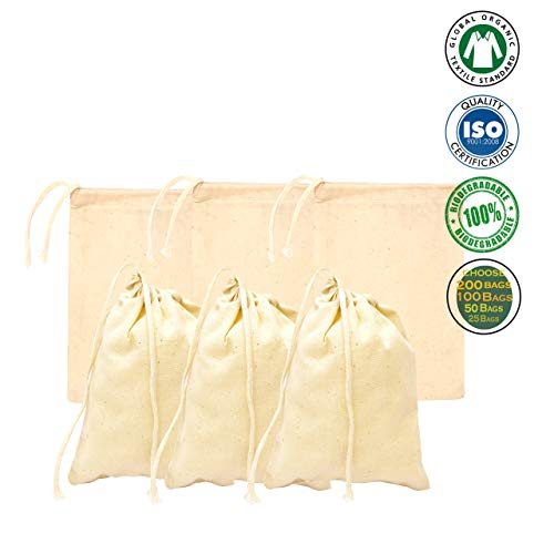 2x3 inches, 100% Organic Cotton Drawstring Bags Recyclable Fabric (Pack of 100 Bags)