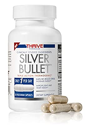 Thrive Formulas Silver Bullet Triple Action Thermogenic Fat Burner - 30 Vegetarian Capsules - Only 1 per Day