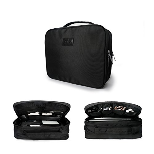 (Patu Ultra Storage Electronic Case - Portable Home and Travel Organizer for Tablets (iPad Air & mini), E-Readers and Gadget Accessories (Hard Drive, Power Bank, Adapter, Cable, Memory Card), Black)