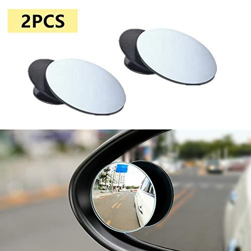 BUYGOO 2 Pcs Espejo de Punto Ciego Giratorio de 360 ° para Ala de Coche Espejo de Punto Ciego Convexo de Gran Angular Ajustable para Automoviles, SUV, Furgonetas, Camiones, Motocicletas