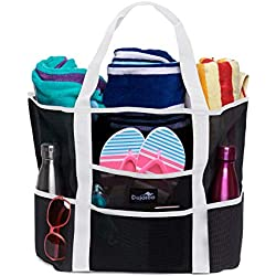 Dejaroo Mesh Beach Bag - Toy Tote Bag - Large Lightweight Market, Grocery & Picnic Tote with Oversized Pockets (Black with White Handles)