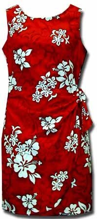 White Hibiscus Hawaiian Dress - Womens Hawaiian Dress - Aloha Dress - Hawaiian Clothing - 100% Cotton Red Medium - Aloha Dress