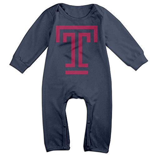 Price comparison product image PCY Newborn Babys Boy's & Girl's Temple University T Logo Long Sleeve Baby Climbing Clothes For 6-24 Months Navy Size 12 Months