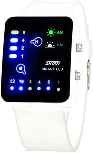 SKMEI Boys Girls Digital LED Waterproof Sport Wrist Watch White