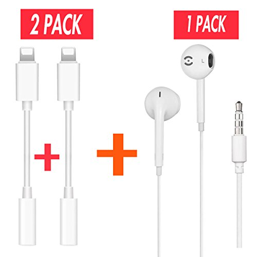 2 Pack iPhone 7 7 Plus Headphone Jack Adapter Plus Earbuds for iPhone, Lightning Connecter to 3.5mm Audio Jack Earphone Extender Jack Stereo for iPhone 7 / 7 Plus