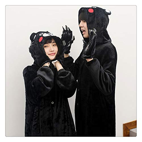 Adult Kumamon Pajamas for Unisex Couple Cartoon Unisex Cosplay Animal Pyjama Winter Sleepwear Men Costume Home Kumamon M ()