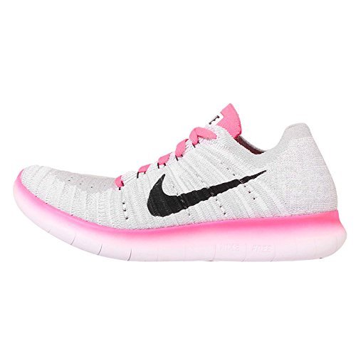 buy popular 1cc6b f7d2d Nike Kids Free RN Flyknit GS, WHITE/BLACK-PINK POW-WOLF GREY, Youth Size 7