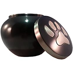 Paw Print Pet Urn for Your Loving Dog or Cat Ashes, Finished in a Brushed Slate ...