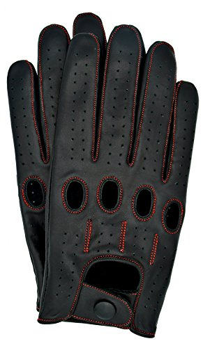 Riparo Genuine Leather Full-finger Driving Gloves (Large, Black/Red - Gloves Driving Deerskin