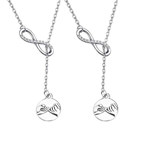 BAUNA Best Friends Necklace Pinky Promise Pinky Swear Infinity Y Necklace Hand Gestures Pendant Necklace for Best Friend Sisters BFF Jewelry (Necklace for 2)