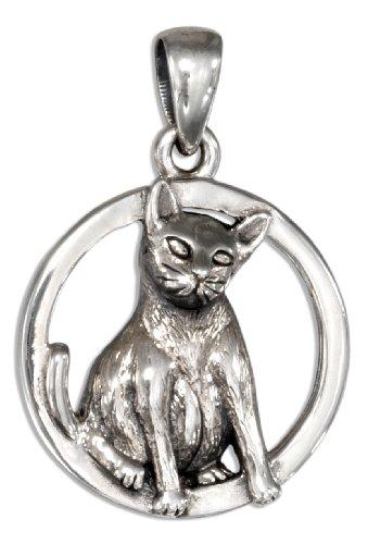 (Sterling Silver Siamese Cat Pendant)