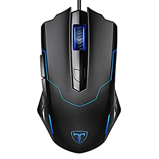 PICTEK Gaming Mouse, Entry-level Ergonomic Optical Computer Mouse for Game & Daily, 1000-3200 DPI Adjustable USB Mouse Auto Breathing Wired Mouse for PC Desktop Windows 7/8/10/XP, Vista and Mac, Black