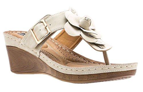 Gc Shoes Womens Sydney Rosette Sandali Con Zeppa Con Zeppa Naturali Fl