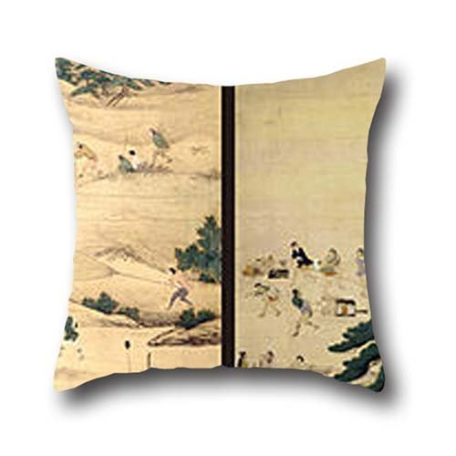 Oil Painting Attributed To Unkoku Togan - CHERRY BLOSSOMS VIEWING AND FALCONRY Throw Cushion Covers ,best For Teens,outdoor,wedding,play Room,girls,bedding 16 X 16 Inches / 40 By 40 Cm(2 Sides)
