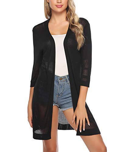 iClosam Women Casual 3/4 Sleeve Knit Open Front Cardigan Sweater
