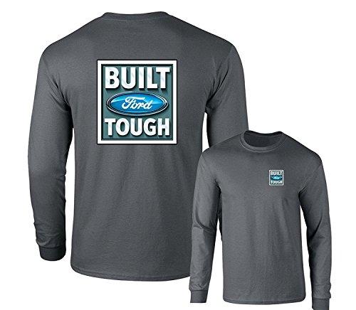 Built Ford Tough Logo Classic Emblem Long Sleeve T-Shirt F & B, Charcoal, (Built Ford Tough Logo)