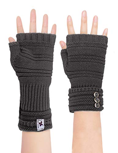 Dahlia Women's Knit Fingerless Gloves, Hand & Wrist Warmer, Adjustable Dark ()