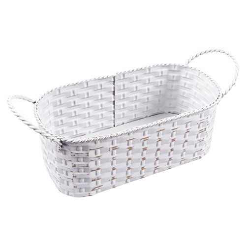 - Juvale Silverware Basket - Cracker Basket, Rectangular Storage Basket - Iron Utensil Basket, Decorative Organizing Baskets for Shelves, Restaurants and Kitchens, White, Small, 10.2 x 3.1 x 4.2 Inches