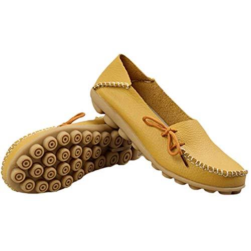 Cuir Chaussures coloré Uk Mocassins yellow Style Femmes Confort Le Pour 1 À Compensées Et Taille 2 5 Fuxitoggo Semelles 3 Travail En Des qExw4B4v6