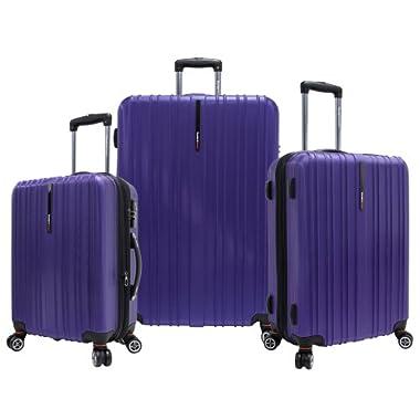 Traveler's Choice Tasmania 100% Pure Polycarbonate 3-Piece Expandable Spinner Luggage, Purple