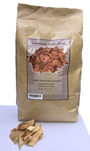 Wood Chips Kirsche Cherry Wood ca. 1,5 kg / 7 Liter in der Tüte Räucherchips für Grill und Smoker BBQ
