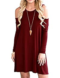 Women's Long Sleeve Cold Shoulder Tunic Top Swing T-Shirt Loose Dress with Pockets