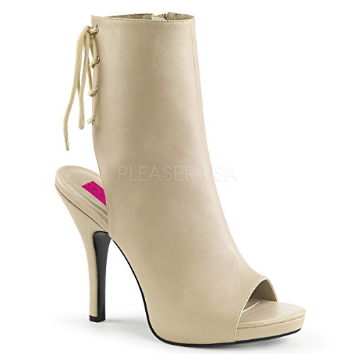 - Pleaser Pink Label Women's Eve102/Crpu Ankle Bootie, Cream Faux Leather, 11 M US