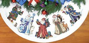 "Gold Collection St. Nicholas Tree Skirt Counted Cross Stitch 45"" Diameter"