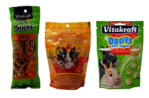 - Vitakraft Sunseed Rabbit Treats 3 Flavor Variety Bundle (1) Each: Carrot Honey Sticks, Garden Goodies Papaya, Yogurt Drops (3-5.3 Ounces)