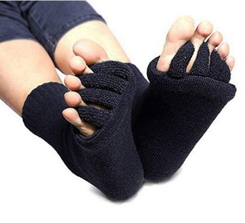 1 Pair Black Yoga GYM Massage Five Toe Separator Socks Foot Alignment Pain Relief Half Toe Socks Toe Spacer Stretcher Sports Socks by SamGreatWorld