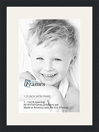 ArtToFrames 12 x 18 Inch Opening Single Mat with a Satin Black 1.25'' wide Picture Frame, 2'' Super White Mat - 12' X 12 Single