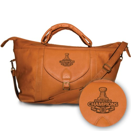 NHL 2011 Boston Bruins Pangea Tan Leather Top Zip Travel Bag - Stanley Cup Champions