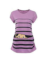 TheRang Women Maternity Tops Cap Sleeve Nursing Funny T Shirts Striped Tunic Blouse(S-3XL)