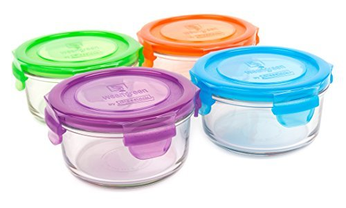 (Wean Green Glass Food Storage Containers, Lunch Bowl 12 ounces, Garden Pack (4)