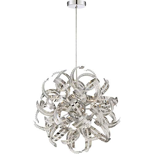 Quoizel RBN2817CRC Ribbons Curved Metal Pendant Ceiling Lighting, 5-Light, Xenon 200 Watts, Crystal Chrome (17